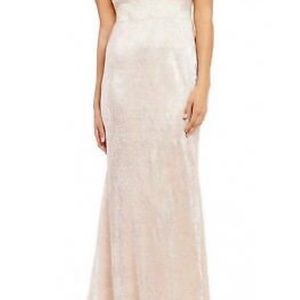 Calvin Klein gold gown 16 cold shoulder NWT